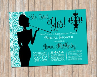 Breakfast at Tiffany's Invitation, Breakfast at Tiffany's Bridal Shower Invitation, Bridal Shower Invitation, Digital Printable Invitation