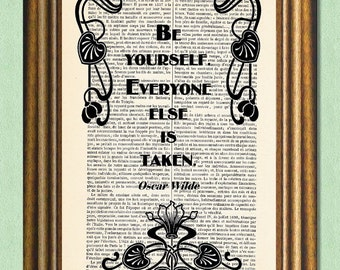 BE YOURSELF -  Oscar Wilde Quote - Dictionary art - Antique book page recycled - Wall art