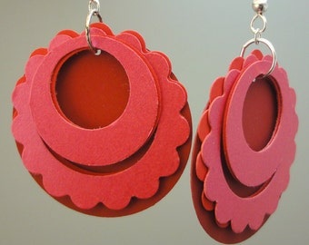 Paper Earrings Round and Scalloped