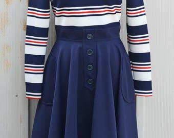 Vintage Nautical Dress - 1960s Swing Dress - Retro Midi Dress - Long Sleeve Turtleneck Dress - 60s Mod Dress - Striped Dress - Rockabilly