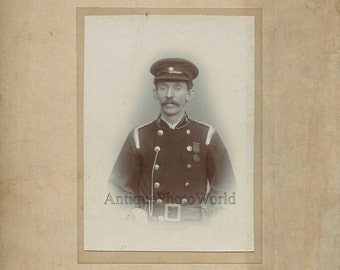 Fireman mustached man firefighter in uniform with medal antique photo