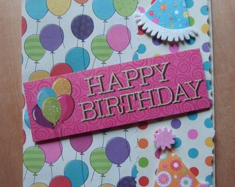 Happy Birthday Balloons and Party Hats Greeting Card