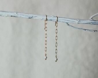Long Pearl Earrings-Long Chain Earrings-Long Gold Earrings-Simple Long Earrings-Gold and White Earrings-Gift for Her-Gifts Under 40