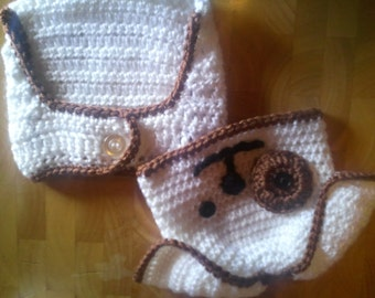 Instant download PDF PATTERN for Crocheted Baby Puppy Hat and Diaper Set