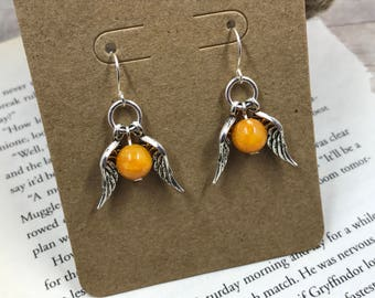 Harry Potter inspired Earrings - Golden Snitch - Snitch - Quidditch - Seeker - Jewelry - Gryffindor - Hogwarts - Gift