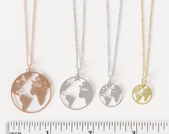 World necklace etsy earth necklace world map necklace rose world necklace globetrotter necklace rose gold gumiabroncs Image collections