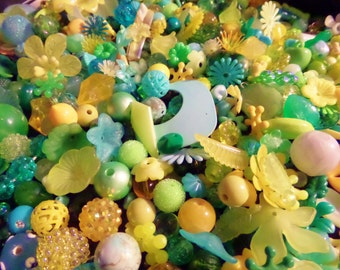 Aqua, Yellow & Green Vintage and newer Deluxe Bead mix