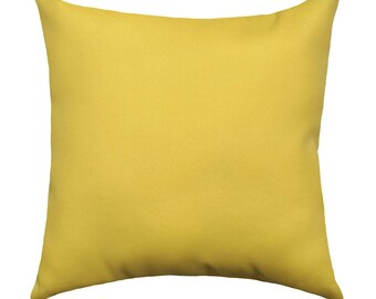 Solid Yellow Outdoor Throw Pillow Cover, Yellow Patio Pillow Cover, Waverly Sunburst Canary Outdoor Decorative Pillow, Solid Yellow Pillow