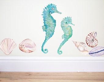 Seahorse wall decal,seahorse sticker,fish wall decal,ocean nursery,mermaid decor,seahorse art,beach decor,kids room,nursery decor,sea art