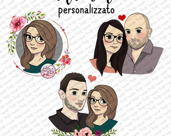 Custom Avatar, picture illustrated single/pair/family, digital drawing for profile Blog-site, Social Media icons. Gift Idea