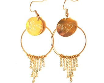 Gold plated earrings and chains