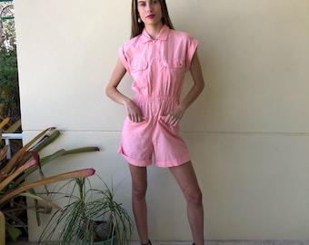 80s Romper / Baby Pink / High Waisted Shorts One Piece / Onesie / Zipper Front Jumpsuit / Summer Romper / Short Sleeves Romper /Safari Pink