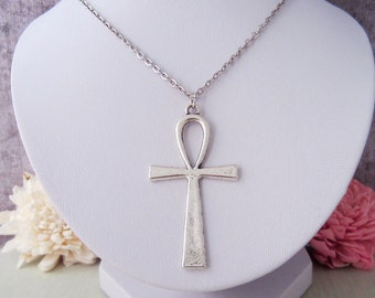 Huge Ankh Necklace - Egyptian Ankh Charm - Antique Silver Toned Jewelry