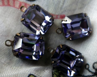 Swarovski Tanzanite 12x10mm Octagon Article 4600 Brass Ox Glass Drops 4 Pcs