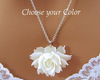 White Rose Necklace, White Flower Necklace, Romantic Jewelry, Large Rose Necklace