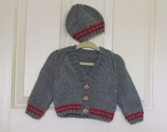 Hand Knitted - Grey and Burgundy Sweater with Sock Monkey Buttons and Matching  Hat Set