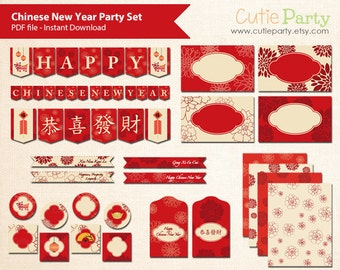 Chinese New Year Party Printable Set, Lunar New Year Party Set, Editable label, Tent Card, Bunting, Money Packet