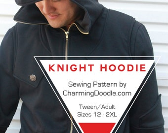 Knight Hoodie Tween and Adult Sizes PDF Sewing Pattern