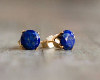 Lapis Lazuli Stud Earrings, Mothers Day, Gift for Her, Earrings Studs, Blue Lapis Ear Studs, Gemstone Ear Studs, 6mm, September Birthstone