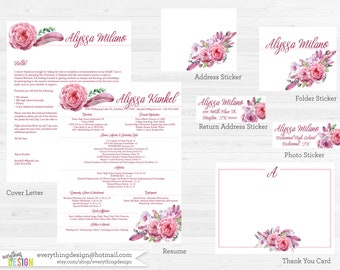 Pink Floral Custom Sorority Recruitment Packet- Digital Printable OR Printed (includes shipping!)