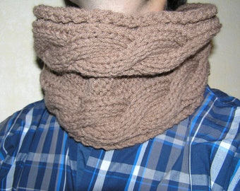Balance snood wool man, Choker, knitted wool taupe cable gift men scarf