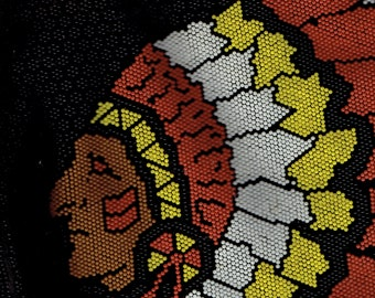 mister ernest handbag co.,all hand beaded indian chief ,front and back