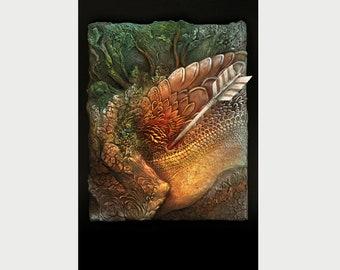 "Fantasy Art Ptint Dragon - ""Dying fire"" - 30x45 sm - 11,81 x 17,7 inch"