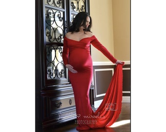 Maternity Dress for Photo Shoot-Dress for Baby Shower-Fitted Maternity Gown-Sweetheart Maxi Gown-Long Sleeves Maternity Dress-PENELOPE Dress