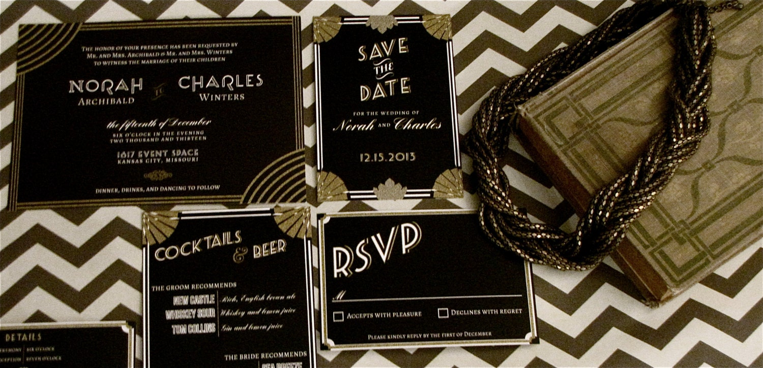 Great Wedding Invites: Gatsby Art Deco Wedding Invitation // DOWN PAYMENTS Toward