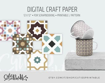 Moroccan Patterns - Instant Download - Set of 5+5 Paper - 1500x1500 pixel 300dpi - Digital Paper Pack - Scrapbook, Card making