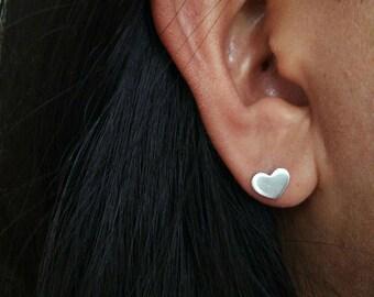 925 Silver Heart Stud Earrings - Silver Heart Post Earrings - Valentine Earrings - Heart Jewelry - Small Heart Earrings - Cartilage Earrings