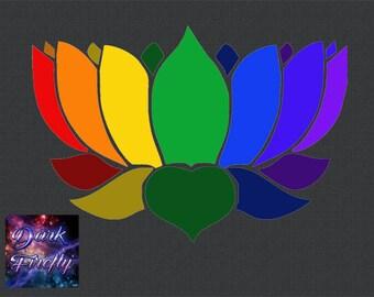 Rainbow Lotus Flower Car Window Bumper Sticker Decal Laptop Love Peace Pride
