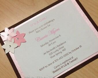 Layered Baby Shower Invitation | Girl shower | Baby shower invite | Its a Girl | pink shower invitation | blossom shower invitation
