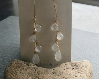 Rainbow Moonstone and Gold Fill waterfall, dangles, Earrings