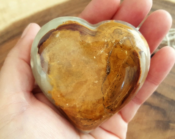 Pakistani Onyx Heart ~ One Reiki Infused gemstone heart approx 3 x 3 inches (PH03)