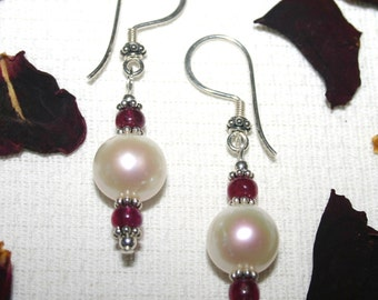 RUBY And PEARL EARRINGS...Drops, Dangly,