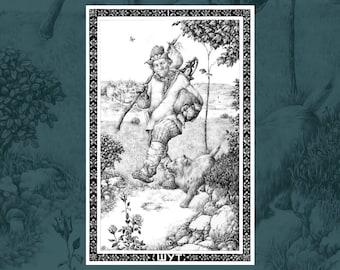 The Fool • Russian Tarot Art Print   Art poster   Wall art   Fine art print   Graphic Art   Ballpoint Pen Art   Home decor   Gift   Joker