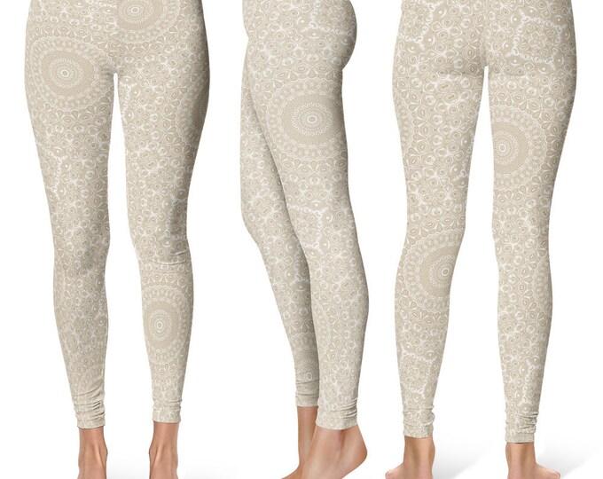 Khaki Leggings Yoga Pants, Printed Yoga Tights for Women, Cream Beige Mandala Pattern