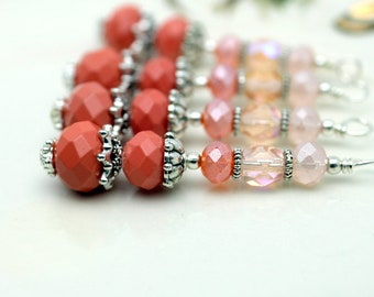 Vintge Style Coral Crystal Large Long Pendant, Bead Dangle, Earring, Jewelry Pendant, Necklace Pendant