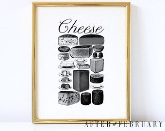 Cheese Wall Art  // Black and White Wall Art // Kitchen Decor // Kitchen Wall Art // 5X7 & 8X10 // INSTANT DOWNLOAD - No.P06