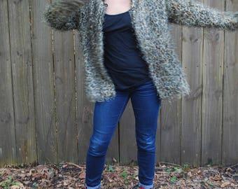 Vintage Fuzzy Leopard Print Jacket With Black Collar