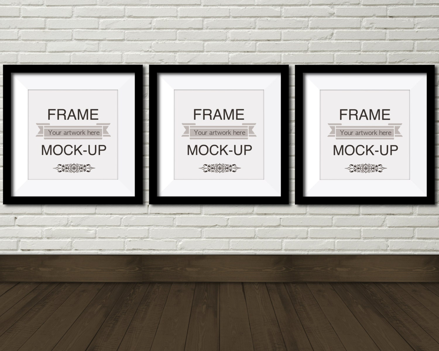 Digital frame mockup, three square frames, 10 x 10 inch, 12 x 12 ...