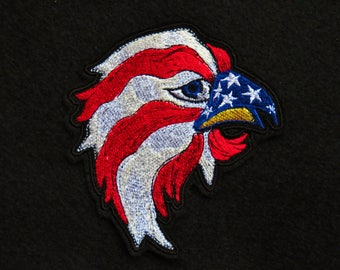 """Red White and Blue, Eagle, Iron On Patch, Patriotic Eagle, USA, Embroidered, 4"""" X 4.25"""", American, Biker, Motorcycle"""