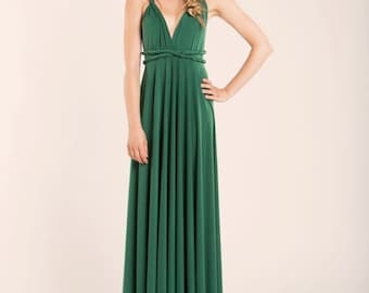 Green infinity dress, green long infinity dress, long green dress, infinity dress, bridesmaid dress, forest green maxi dress, ready to ship