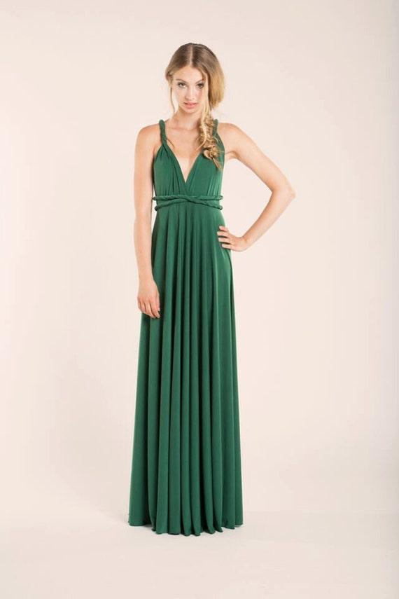 Grün lang Brautjungfernkleid