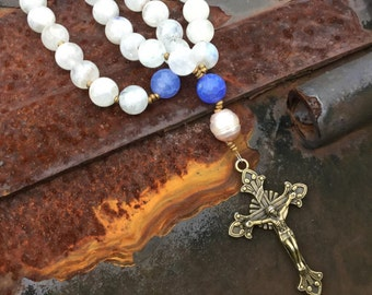 Moonstone and Blue Fire Agate Anglican Rosary  Protestant Prayer Beads    Episcopal Rosary originally 124 now 62 dollars summer sale