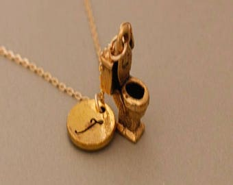 Toilet Necklace, Bathroom Necklace, personalized jewelry ,the best gift for plumbers