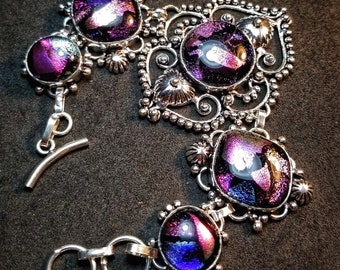 Dichroic Glass Bracelet Sterling Silver Gemstone - Purple