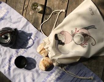 Large Linen laundry bag ~Prinsesa & Violina/dawstring cloth bag/travel storage bag/reusable food bag/children gym bag/princess ballet bag