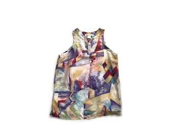 Vintage silk tank top, 90s abstract top, small